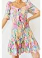XHAN Turkuaz Eteği Fırfırlı Desenli Elbise  Turkuaz